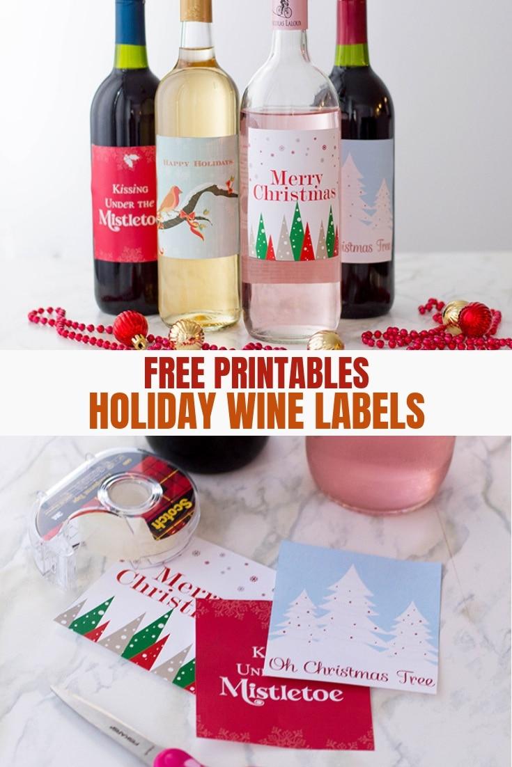 Chrismtas wine label free printables