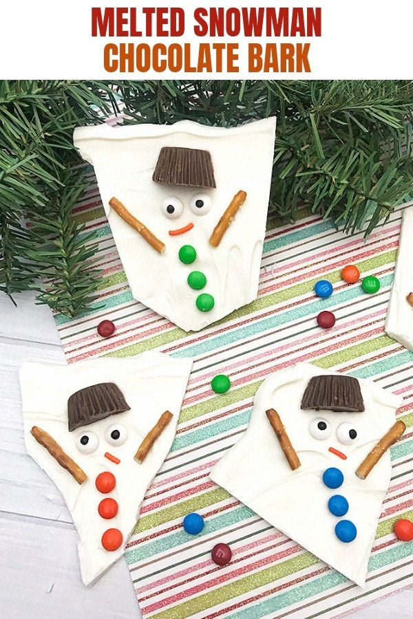Melted Snowman Chocolate Bark broken into individual pieces