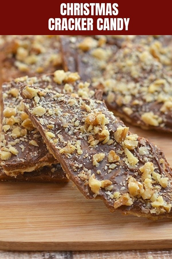 Cracker Candy on a wooden board