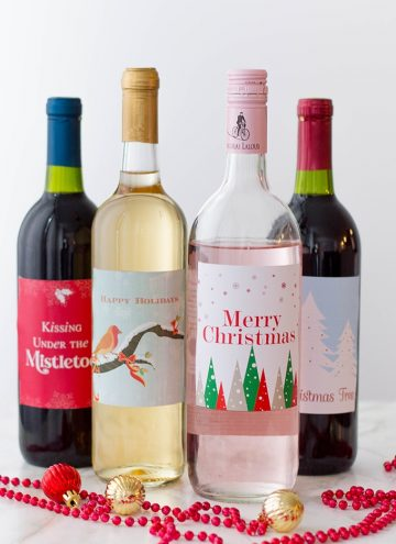 wine bottles with Christmas labels