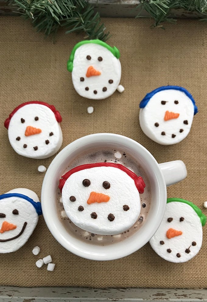 cup of hot cocoa with Jumbo Snowman Marshmallows