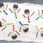 Melted Snowman Chocolate Bark on a parchment-lined baking sheet