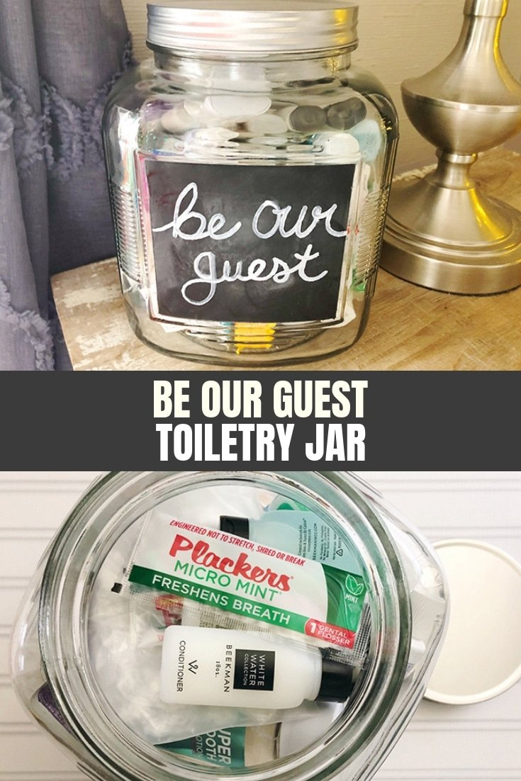 Be Our Guest Toiletry Jar on nightstand
