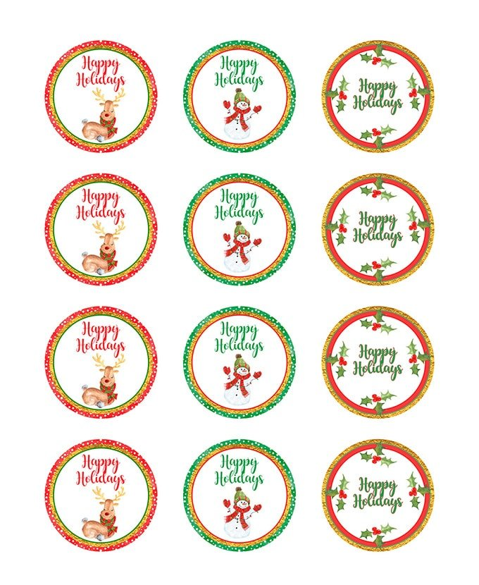 Christmas Mason Jar Stickers Printable