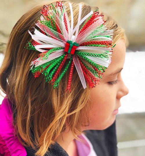Christmas Hair Bows on a girl's hair
