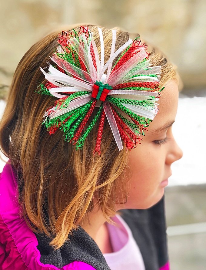 Christmas Hair Bows on a girl's hair
