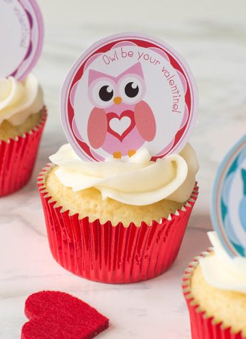FREE printable Valentine's Day Owl Cupcake Toppers on cupcakes