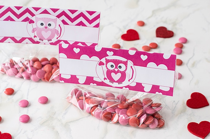 filled treat bags with Valentine's Day toppers