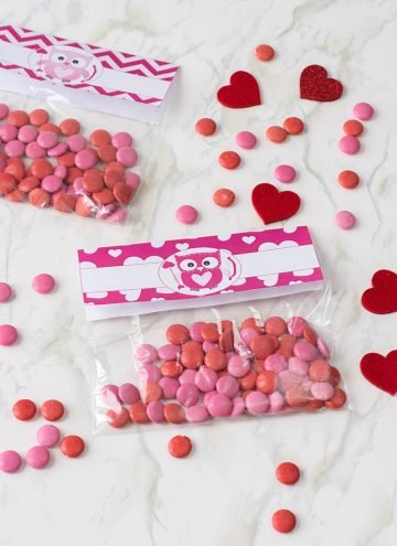 treat bags filled with red candy with Valentine's Day toppers