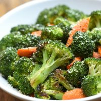 roasted broccoli and carrots on a serving plate