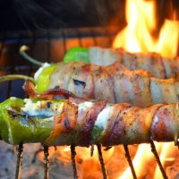 Grilled Bacon-Wrapped Poppers