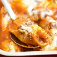 Cheese Stuffed Pasta Shells with Meat Sauce