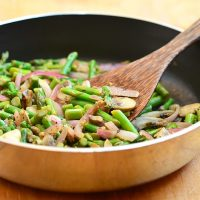 sauteed asparagus and mushrooms with red onions